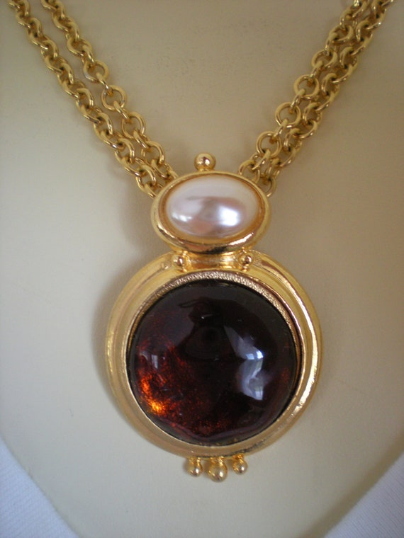 Rootbeer Lucite and Pearl Necklace
