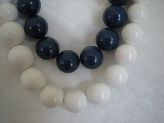 Two Graduated Beaded Necklaces, Navy Blue and White