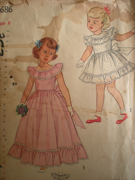 Flower Girl, 1948 Simplicity Formal Gown in 2 Lengths Pattern 2686, Size 6