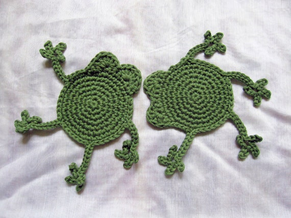 Green Frog Coasters - set of two