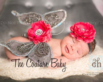 SILVER LUXE Sequin Hot Pink  or Light PINK Butterfly Wings and Headband Photo Prop First Photos
