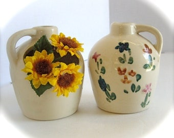 Vintage handmade pottery organic herbal growing pots 1950's