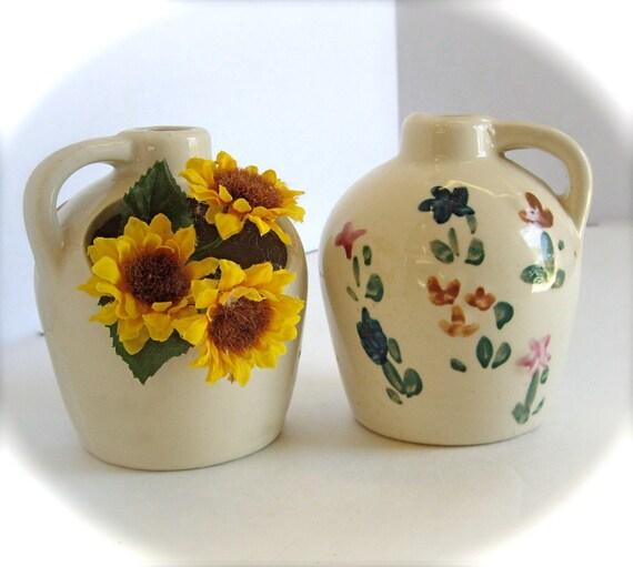 Vintage handmade pottery organic herbal growing pots 1950's