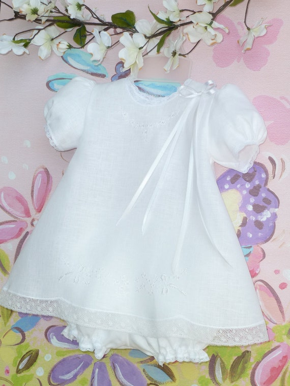 6 - 9 Months Embroidered Baby Linen Dress and Panty Cover