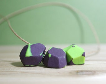 Eggplant Necklace - Geometric Polymer Clay