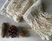 Hand knit fringed scarf /  winter white / ecru snow white / country chic / soft / lush fringes / autumn accessory / warm rustic long scarf