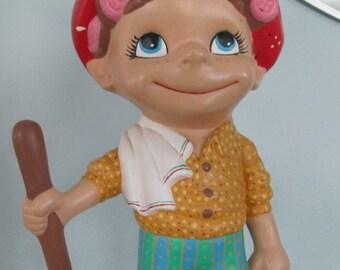 Vintage Scrub Woman Figurine