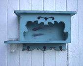 Large wooden shelf hooks vase jar distressed french provencal furniture blue
