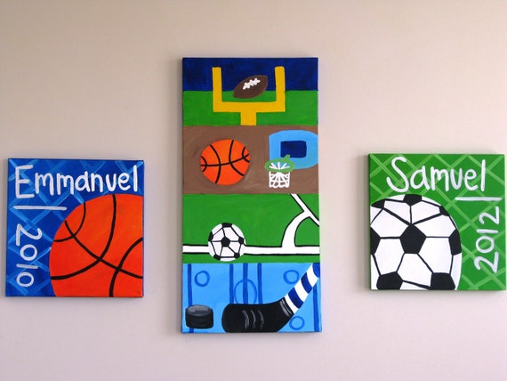 Sports paintings, customized set of 3- great for boys' rooms, play room, nursery decor