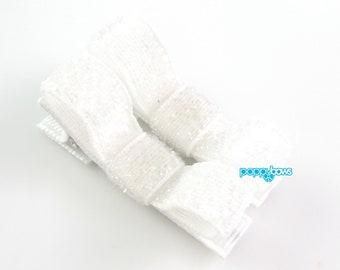 White Glitter Hair Clips - Toddler Hair Clips - Baby Hair Clips - No Slip Grip for Fine Hair Tuxedo Bow