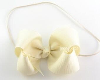Baby Headband - ivory headband - toddler headband - 4 inch bow headband - girls headband - large bow headband - elastic baby headband cream