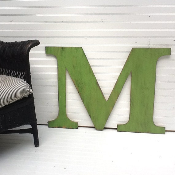 Distressed Wooden Letter M Ready to Ship 24 inch Extra Large Wooden Letter Shabby Chic