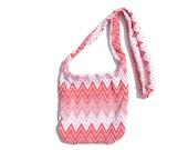Small Boho Purse. Cross Body Hipster. Coral and white Chevron Geometric: Beach Summer Fashion tribal sounthwestern