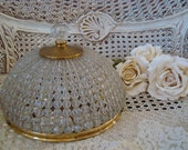 SPECTACULAR Large Vintage Beaded Dome Rock Crystal Ceiling Fixture Light