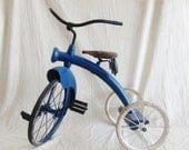Vintage Tricycle Blue Bike Photo Prop Christmas Garden Industrial Decor