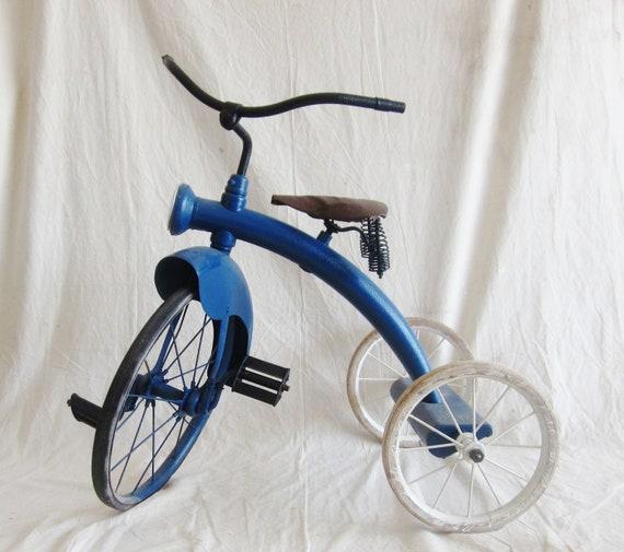 Vintage Tricycle Blue Bike Photo Prop Christmas Garden Industrial Decor