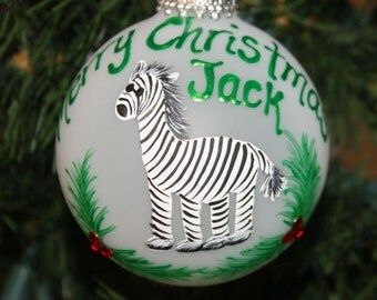 Zebra Personalized Onament handpainted with Holly and Berries made with Swarovski Rhinestones - Made to Order