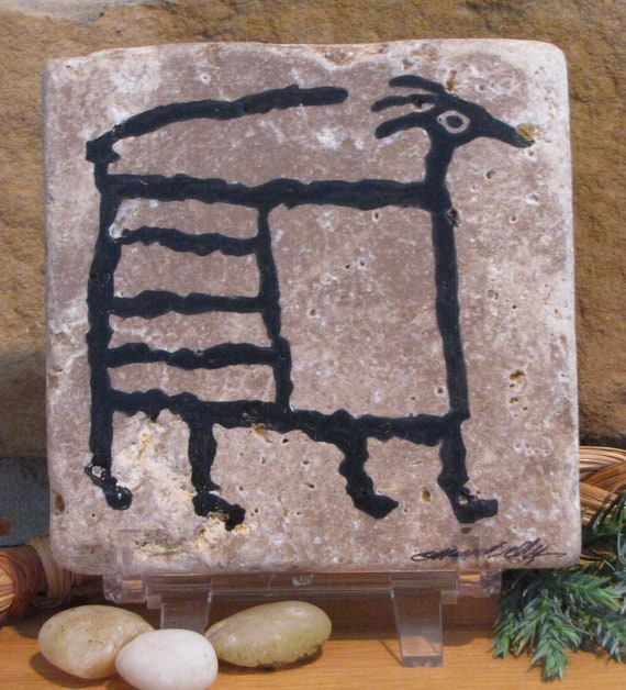 Big Horn Ram Design Petroglyph on Stone