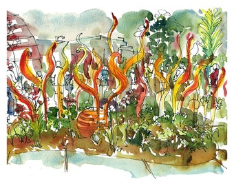 Chihuly in Seattle, watercolor sketch of glass sculpture - fine art print in vibrant reds and oranges