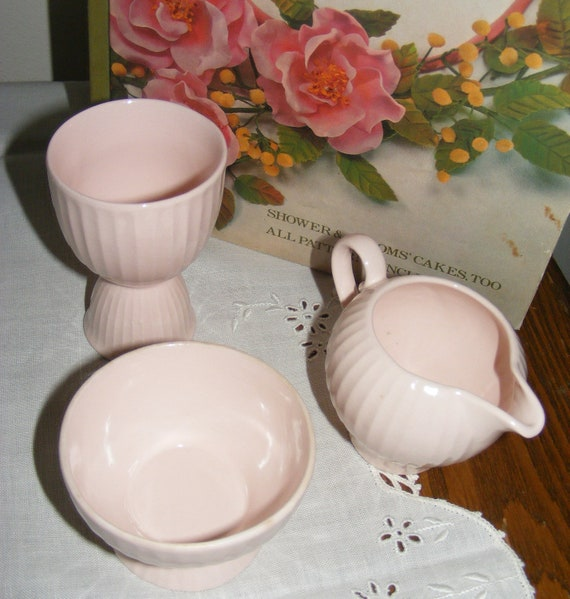 Vintage Pink Breakfast Set Charming Cottage Creamer Berry Bowl and Egg Cup From Czechoslovakia