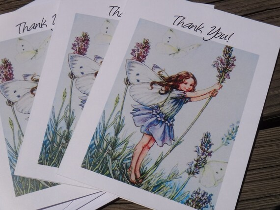 Garden Fairy Birthday or Baby Shower Invitations or Thank You Cards