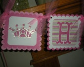 Princess Crowns Happy Birthday Themed Birthday Banner Matching Tissue Pom Poms Available