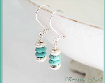 Turquoise Earrings, Silver Earrings, Stacked earrings, December Birthstone Jewelry, Bohemian Earrings, Stocking Stuffer, Minimalist Earrings