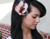 Cream Bleached Ivory Champagne Peacock Feather and Burgundy Ostrich Feather Boutique Bridal Hair Clip Fascinator Photp Prop