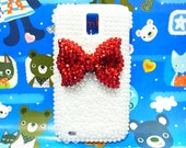 Bling Rhinestones Crystal Pearl White Red Bow Ribbon Back Case Cover for Samsung T989 Hercules Galaxy S2 SII T-Mobile A1