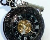 Steampunk pocket watch key Victorian locket pendant EDISON mechanical APPARATUS wedding groom bridal watch
