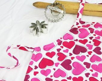 Hearts on White Child Apron