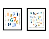 """Alphabet and Number Nursery Wall art, 2 prints in 8x10"""" Great for Nursery or toddlers room, wall decor Colors work great for boy or girl"""