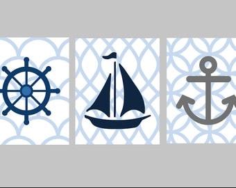 Nautical Nursery Wall Art // Nautical Nursery Decor // Blue and Gray Nursery Art // Nautical Art for Kids // Set of Three 8x10 PRINTS ONLY