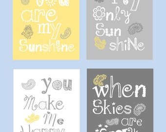 You Are My Sunshine Art Prints // Paisley Art Prints // Paisley Nursery Decor // Yellow and Gray Nursery Art //Set of Four  8x10 PRINTS ONLY