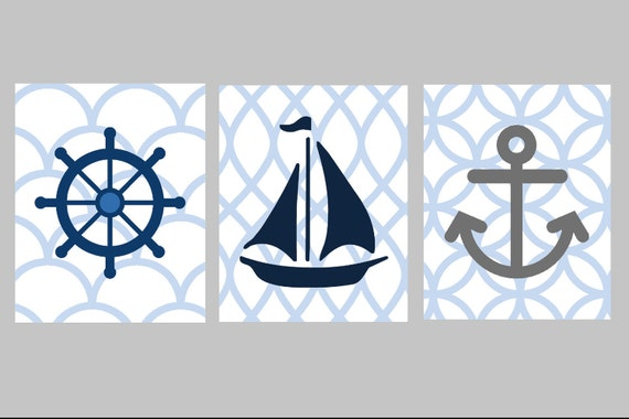 Nautical Nursery Wall Art // Nautical Nursery Decor // Blue and Gray Nursery Art // Nautical Art for Kids // Set of Three 8x10 PRINTS ONLY