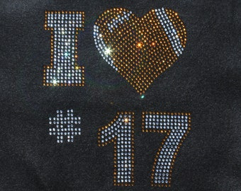 Women's rhinestone Football heart with custom number