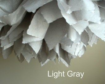 1 Light Gray Tissue Paper Pom Pom