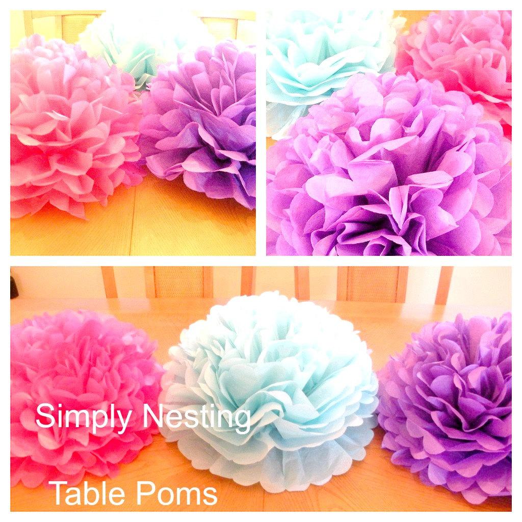 1 TABLE CENTERPIECE... Tissue Paper Pom Pom....Table