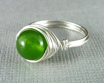 Wire Wrapped Ring Green Aventurine Ring Wire Wrapped Jewelry