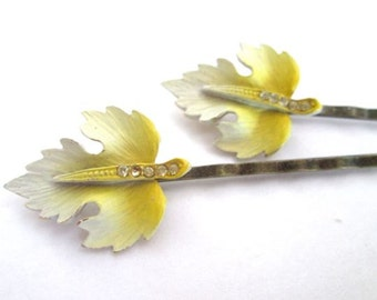 Autumn Hair Leaf Hairpins Wedding Hair Clips Accessories Yellow Vintage Jewelry Bobby Pin Clips