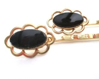 Black Wedding Hairpins Gold Hair Jewelry Bobby Pin Set Accessories Vintage Bridal Clips