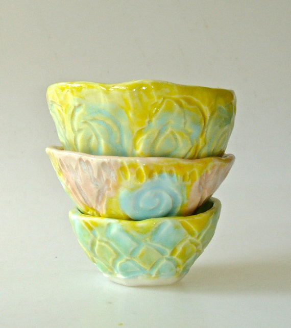 Pinch Pot Nesting Bowl set in yellow, turquoise and pink