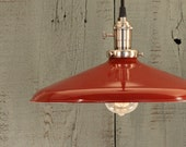"Industrial Lighting With LARGE 14"" Red Enamel Shade"