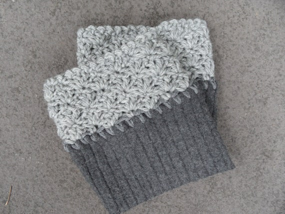Boot Cuffs / Boot Toppers: Handcrocheted in Grey Wool