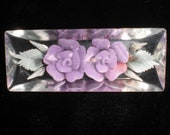 Vintage Lucite Reverse Carved Purple Flowers Leaves 1950s Pin Brooch Clear Double Flower