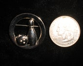 Vintage Bowling Brooch/ Pin 1960s Silver Tone Bowling Ball Pin Circle Sports League