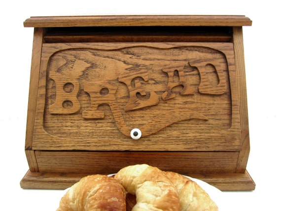Vintage Solid Stained Oak Bread Box with Porcelain Knob Handle