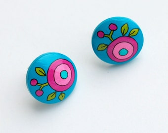 Post earrings - Hand painted turquoise with pink flower