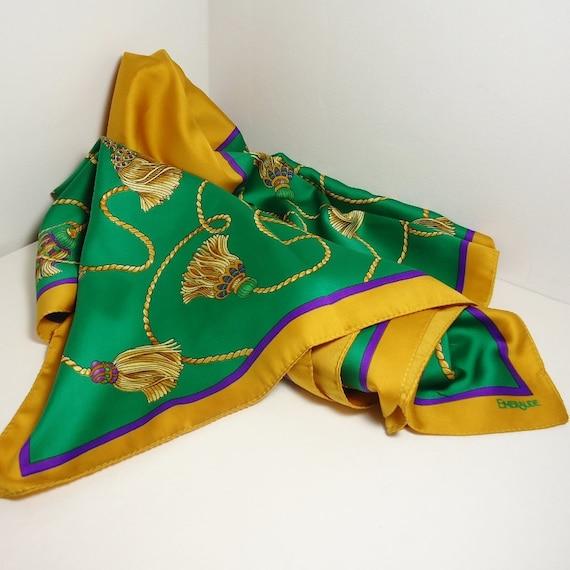 Vintage Emeraude Scarf - Beautiful Jewel Tones, Classic Design