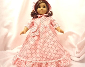 Bright Pink and White print, long dress for 18 inch dolls, with white lace trim.
